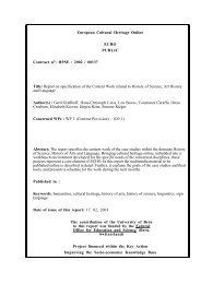 Report on specification of the Content Work related to ... - ECHO