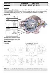 "TBH Ball valve Type BLV-3P DN150(6"")-1200(47"") PN25-100"