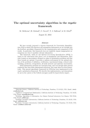 The optimal uncertainty algorithm in the mystic framework