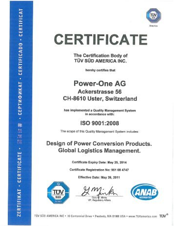ISO 9001 :2008 - Power-One