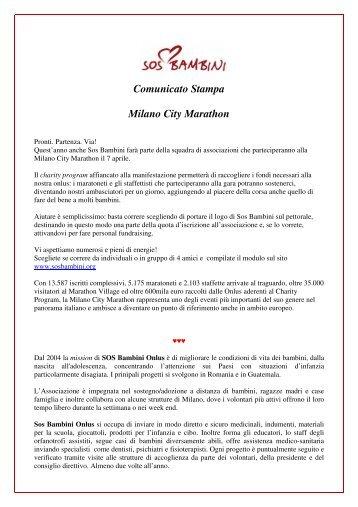 Comunicato Stampa Milano City Marathon - SOS Bambini