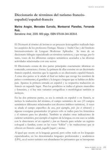 Diccionario de términos del turismo francés-español/español-francés