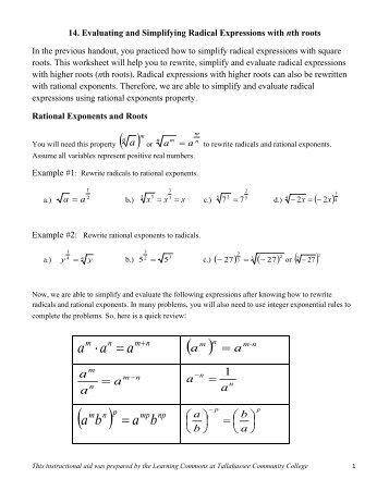 A2 A 13 Simplifying Radicals 1 Simplify Radical Expressions Jmap