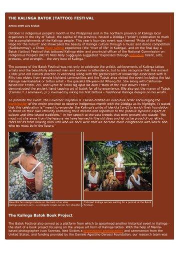 THE KALINGA BATOK (TATTOO) FESTIVAL - Philippine Culture