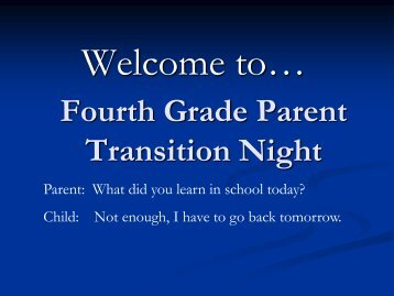 Parent Transition Night Presentation - the Dieringer School District