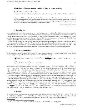 Modelling of heat transfer and fluid flow in laser welding - ZARM