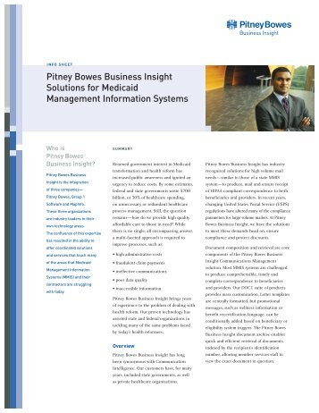 Pitney Bowes Business Insight Solutions for Medicaid Management ...