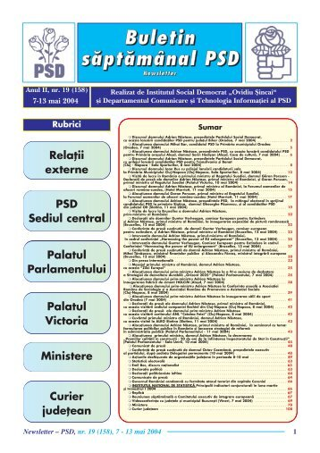 Newsletter nr. 19 - Institutul Social Democrat Ovidiu Sincai