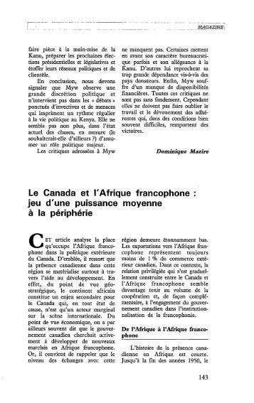 Le Canada et l'Afrique francophone : jeu d'une ... - Politique Africaine