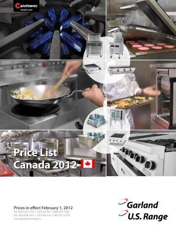 Price List Canada 2012 - Manitowoc Foodservice