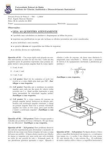 Prova III - T01- 06/10/2010 - Instituto de Física da UFBA