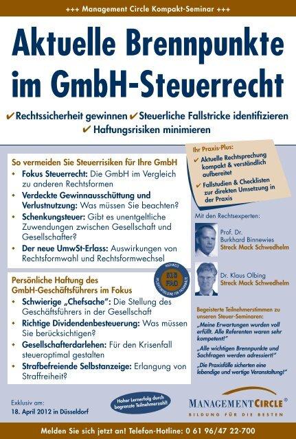 Aktuelle Brennpunkte im Gmbh-Steuerrecht - Management Circle AG