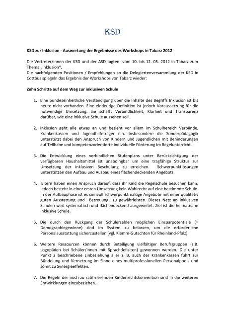 KSD zur Inklusion - Auswertung der Ergebnisse des ... - VSLT eV