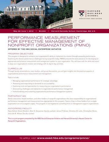 performance measurement for effective management of nonprofit
