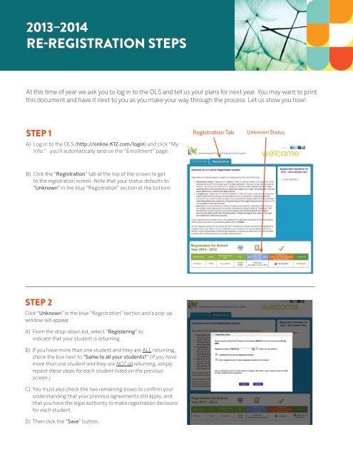 2013–2014 RE-REGISTRATION STEPS - K12 com