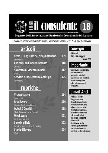 N. 18 del 3 maggio 2003 318 il consulente 1081 - Ancl
