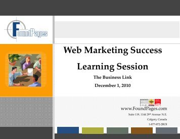 Web Marketing Success Learning Session - The Business Link