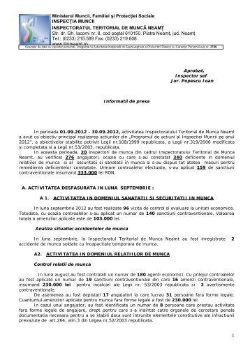 10.10.2012 - Inspectoratul Teritorial de Muncă Neamţ