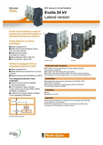 Evolis 24 kV Lateral version datasheet - Schneider Electric
