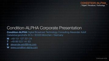 Download the company presentation (PDF) - Condition-ALPHA ...