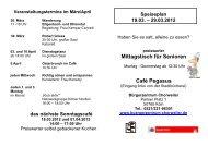 Mittagstisch für Senioren Café Pegasus - Bürgerzentrum Chorweiler