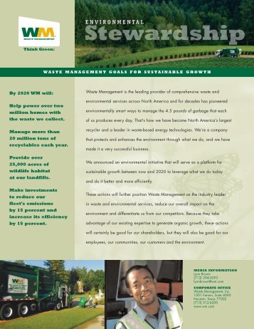 Environmental Stewardship Fact Sheet - Waste Management