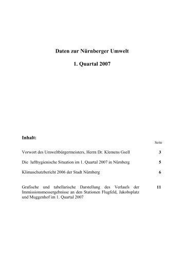 Daten zur Nürnberger Umwelt 1. Quartal 2007 Inhalt - Umweltdaten ...
