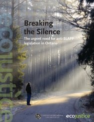 Breaking the Silence - Canadian Environmental Law Association