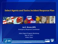 Select Agents and Toxins Incident Response Plan