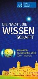 Sonnabend, 10. November 2012 18.00 - 24.00 Uhr