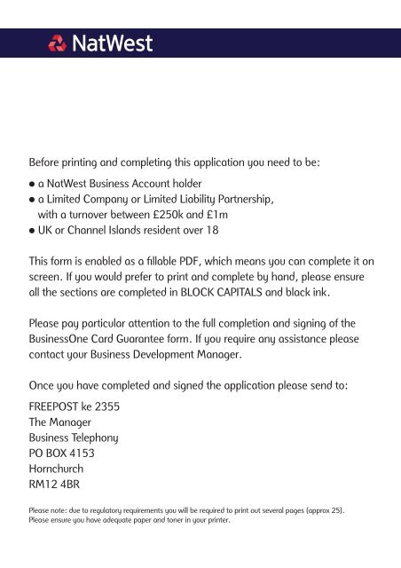 Before Printing And Completing This Application You Need Natwest
