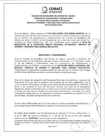 Acta de Resolucion Licitacion Publica Nacional LPN-005 ... - Cobaej