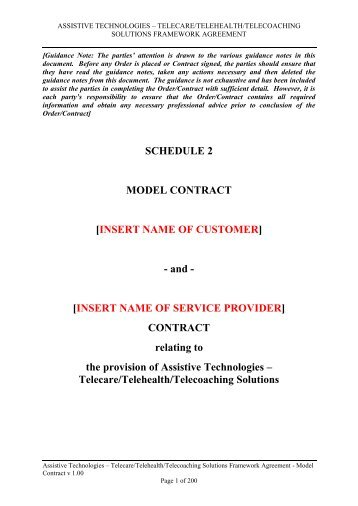 Model Contract - Government Procurement Service - Cabinet Office