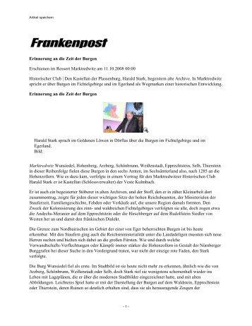 Artikel speichern - Historischer Club Marktredwitz