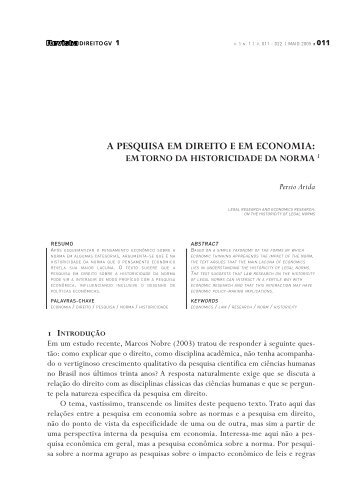 A pesquisa em Direito e em Economia - Escola de Direito de São ...