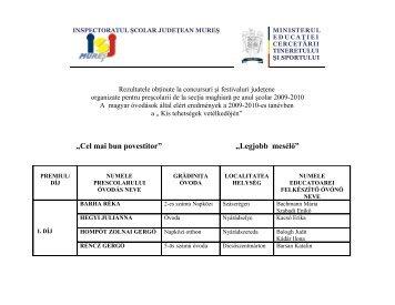 Rezultatele - Inspectoratul Şcolar Judeţean Mureş