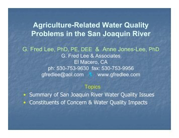 Agriculture-Related Water Quality Problems in the San Joaquin River