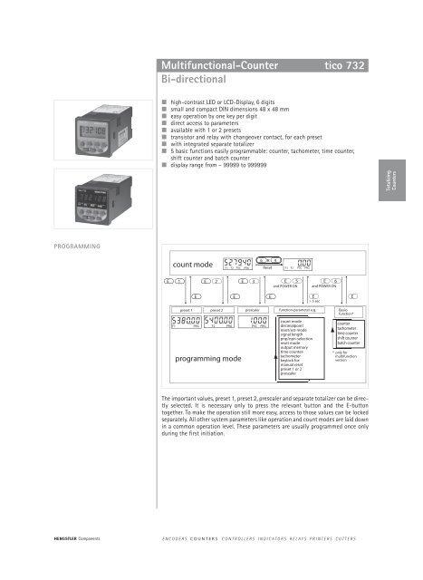Hengstler 732 | 6 digit multifunction counter (12 to 24v dc or 24.