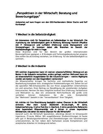 Perspektiven in der Wirtschaft: Beratung und - German Scholars ...