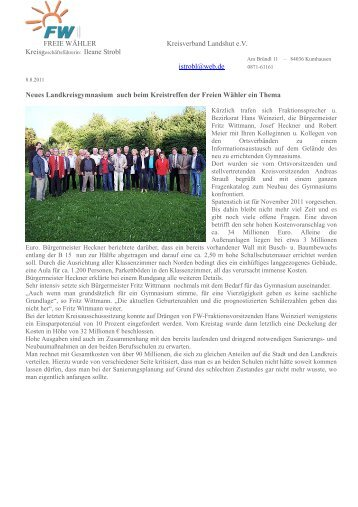 Kreisvorstandssitzung in Ergolding 080811 - Freie Wähler Landkreis ...