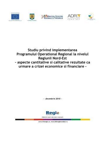 Studiu privind implementarea POR in Regiunea Nord-Est - Fonduri ...