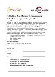 Verbindliche Anmeldung zur Ferienbetreuung 2013 - Wiesmoor