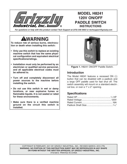 Model H8241 120v On Off Paddle Switch Grizzly Com