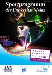 Sportprogramm - AHS - Johannes Gutenberg-Universität Mainz