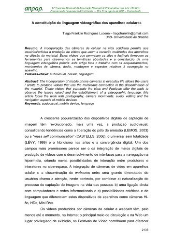 A constituição da linguagem videográfica dos aparelhos ... - anpap