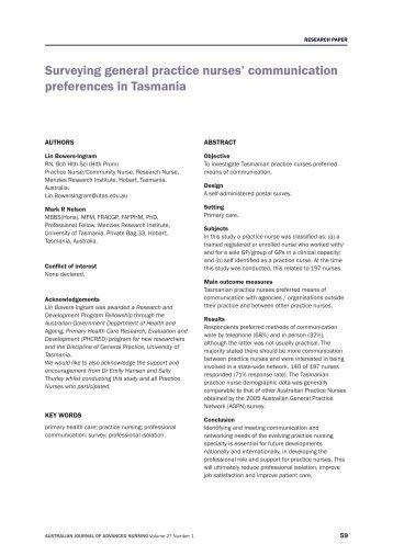 Surveying general practice nurses - Australian Journal of Advanced ...