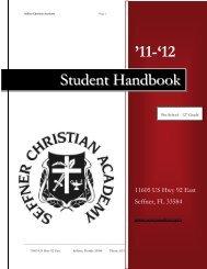 """11-""12 Student Handbook - Seffner Christian Academy"