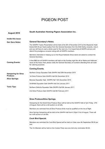 August 2010 - South Australian Homing Pigeon Association