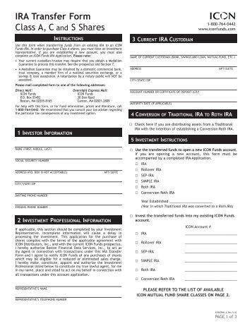 IRA Transfer Form - Prospector Funds