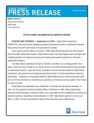STATE STREET CELEBRATES 20 YEARS IN CANADA BOSTON ...